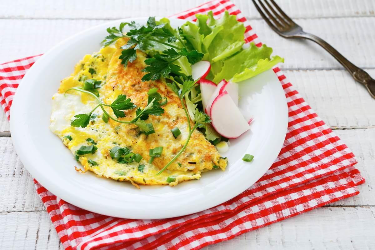 Æggeerstatning omelet af veganske æg planteæg