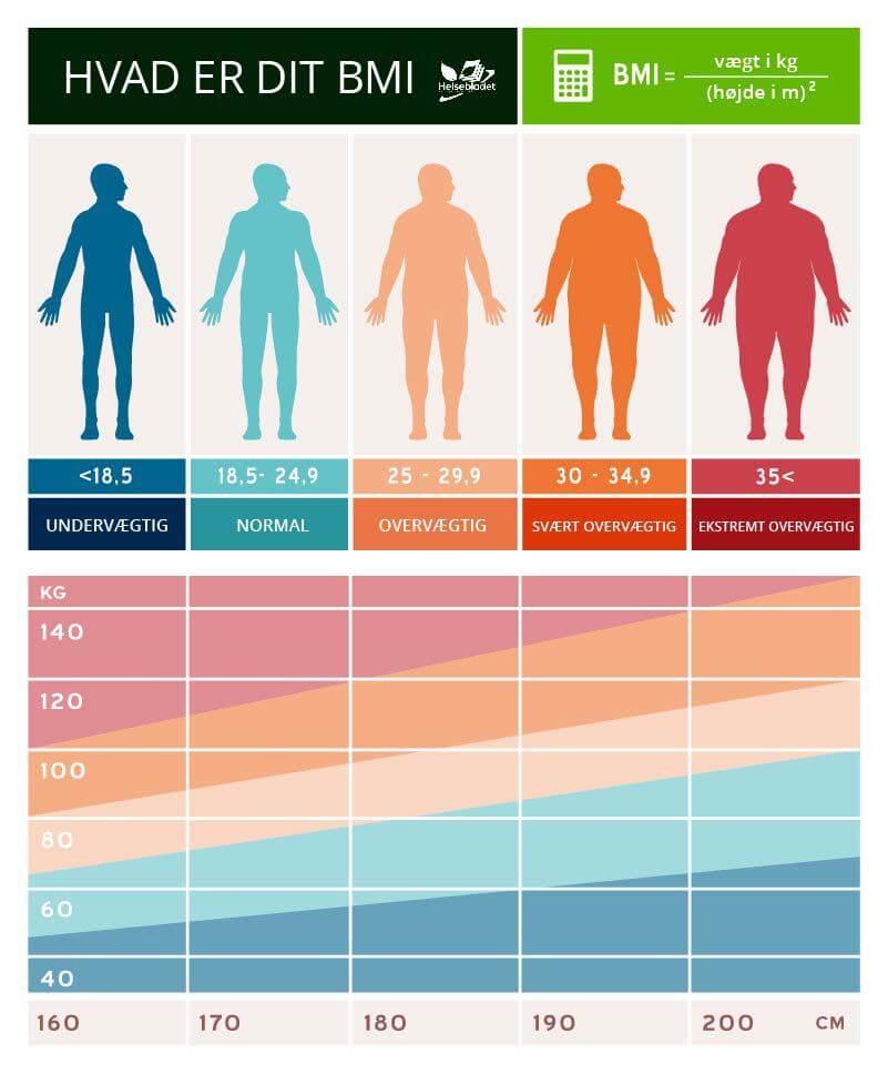 BMI diagrammer med infografik til mænd og kvinder - beregn bmi helsebladet